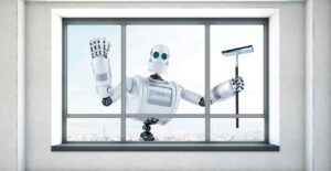 a robot cleaning the window with wiper